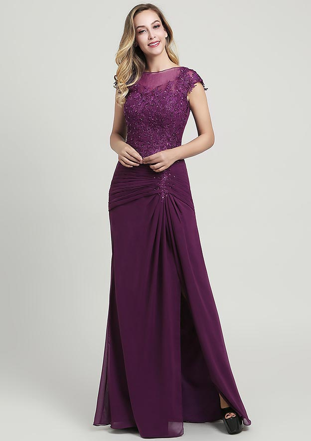 Sheath/Column Bateau Short Sleeve Long/Floor-Length Chiffon Mother of the Bride Dress With Split Appliqued Pleated Sequins