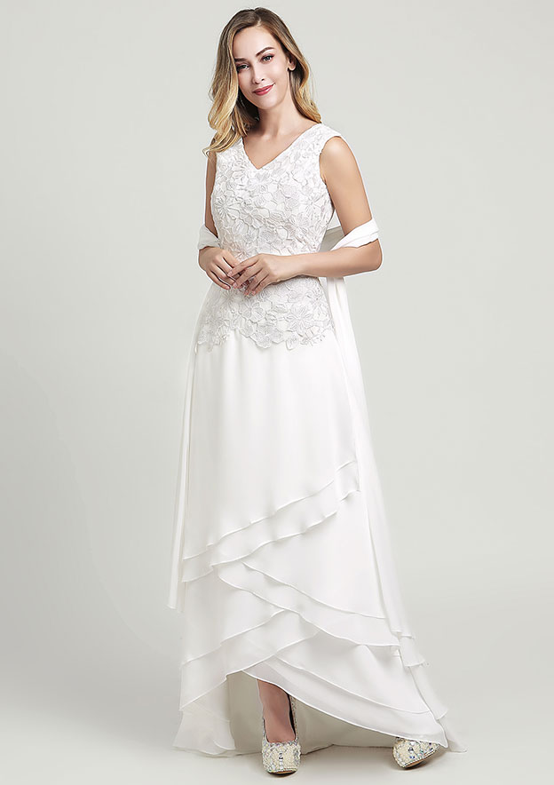 A-line/Princess V Neck Sleeveless Asymmetrical Chiffon Wedding Dress With Lace