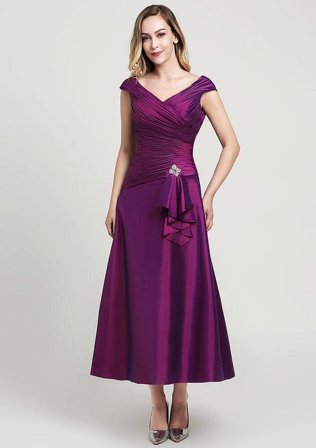 A-line/Princess V Neck Sleeveless Tea-Length Taffeta Mother of the Bride Dress With Pleated Beading