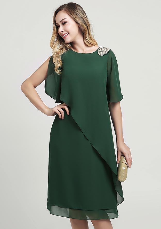 Sheath/Column Scoop Neck Short Sleeve Knee-Length Chiffon Mother of the Bride Dress With Beading Ruffles
