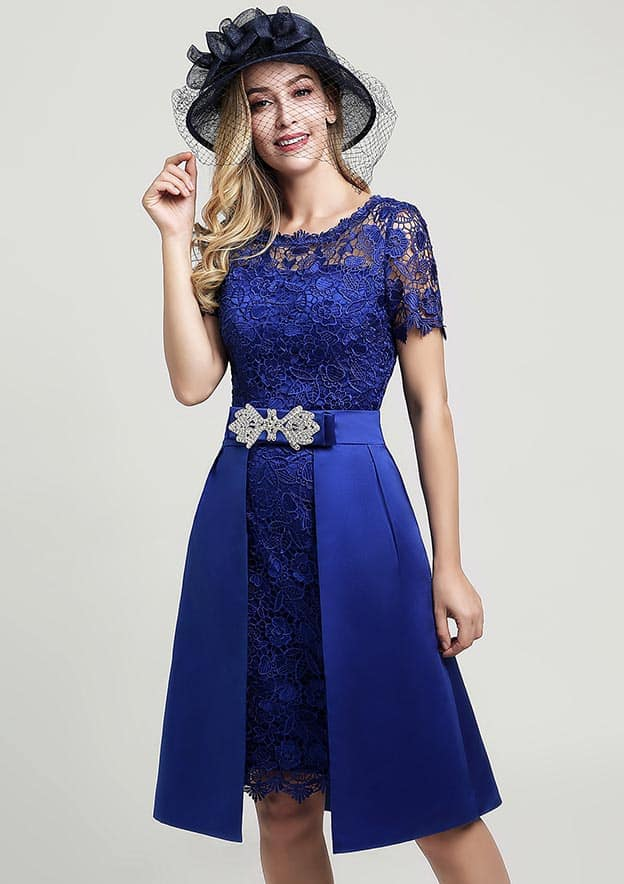 Sheath/Column Scoop Neck Short Sleeve Knee-Length Lace Mother of the Bride Dress With Side Draping Waistband Beading Bowknot