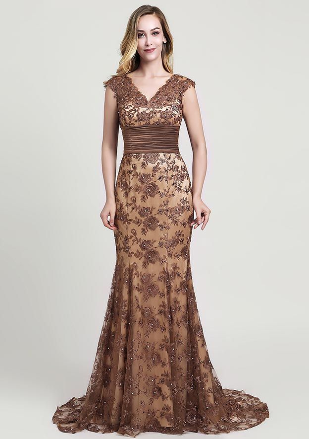 Trumpet/Mermaid V Neck Sleeveless Court Train Lace Evening Dress With Sequins Beading Pleated