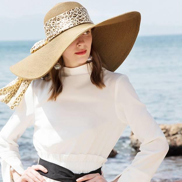 Ladies' Vintage/Simple Papyrus Beach/Sun Hats With Chiffon