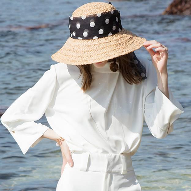 Ladies' Vintage/Simple Raffia Straw Beach/Sun Hats/Straw Hats With Chiffon
