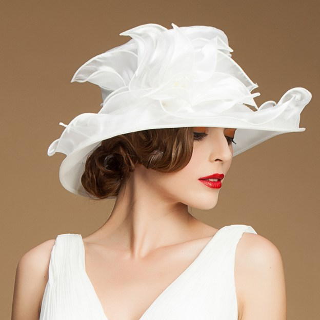 Ladies' Glamourous/Charming Organza Tea Party Hats/Kentucky Derby Hats With Flower Imitation Pearls