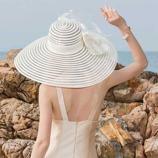 Ladies' Elegant/Charming/Beautiful Polyester Beach/Sun Hats/Kentucky Derby Hats With Bowknot