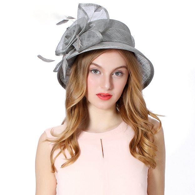 Ladies' Nice/Elegant/Beautiful Linen Beach/Sun Hats/Tea Party Hats With Feather Flower