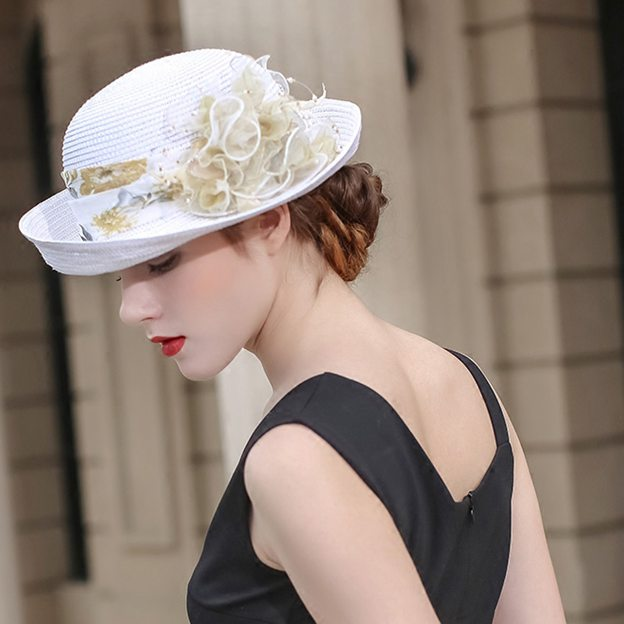 Ladies' Elegant/Special Papyrus Straw Hats/Beach/Sun Hats With Imitation Pearls Flower