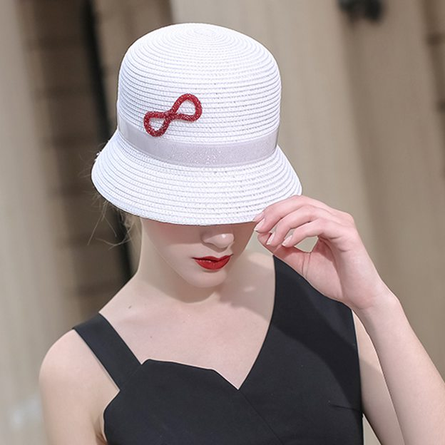 Ladies' Elegant/Nice Papyrus Floppy Hats/Straw Hats With Bowknot