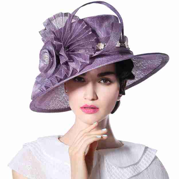 Ladies' Beautiful/Elegant Linen Tea Party Hats/Kentucky Derby Hats With Imitation Pearls Diamond Flower