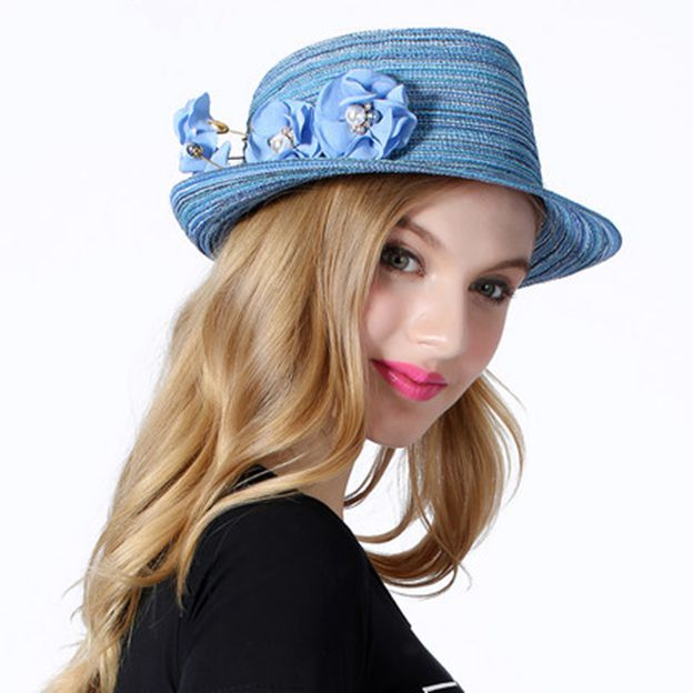 Ladies' Beautiful/Elegant Papyrus Straw Hats/Beach/Sun Hats With Imitation Pearls Flower