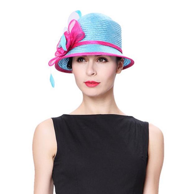 Ladies' Elegant/Beautiful Linen Beach/Sun Hats/Tea Party Hats With Flower Feather