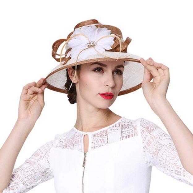 Ladies' Elegant/Beautiful Linen Beach/Sun Hats/Tea Party Hats With Feather Diamond Flower