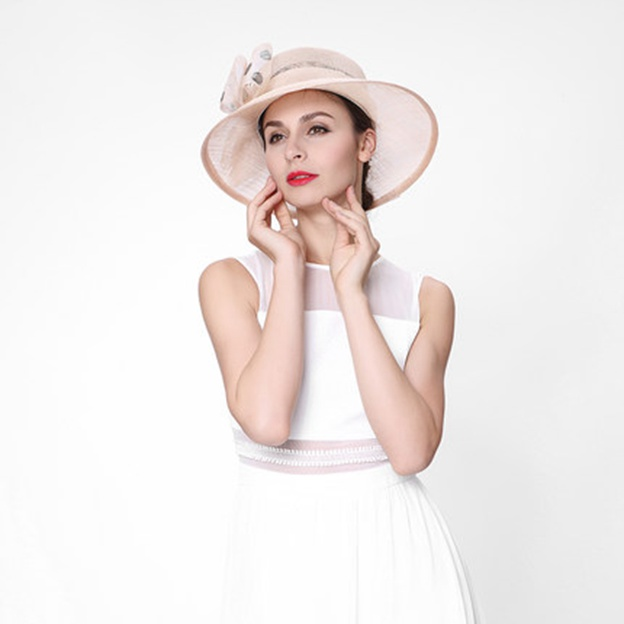 Ladies' Elegant/Beautiful Cambric Beach/Sun Hats/Tea Party Hats With Bowknot