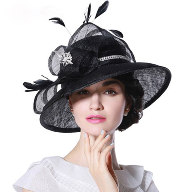 Ladies' Elegant/Beautiful Cambric Tea Party Hats/Kentucky Derby Hats With Flower Diamond Feather Imitation Pearls