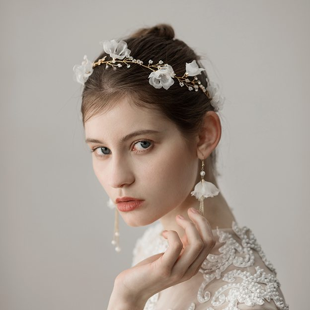 Ladies Beautiful/Elegant Chiffon With Flower Rhinestone Headbands (Sold in single piece)