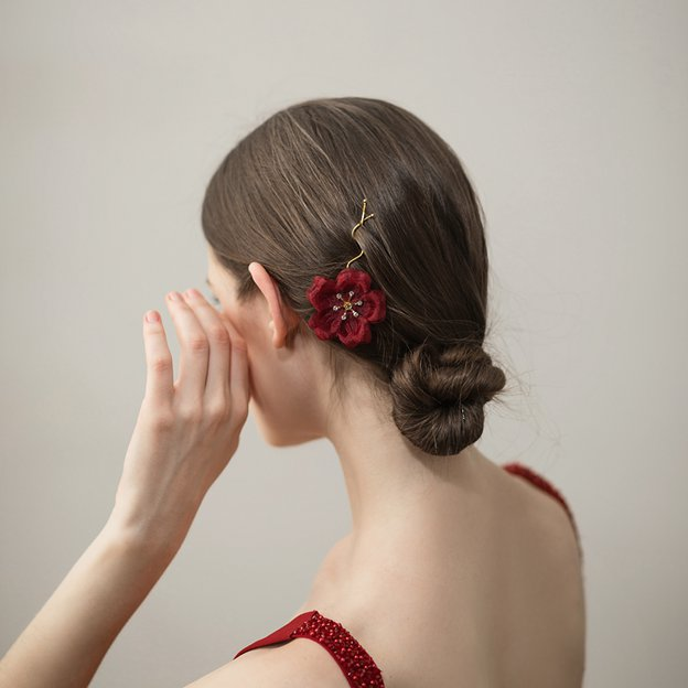 Ladies Beautiful/Nice Alloy/Chiffon With Flower Rhinestone Hairpins (Sold in single piece)
