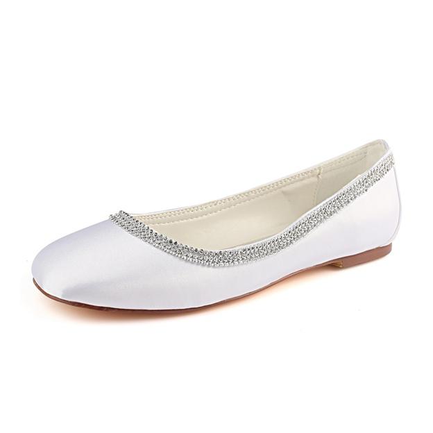 Women's Satin With Beading Close Toe Flats Wedding Shoes