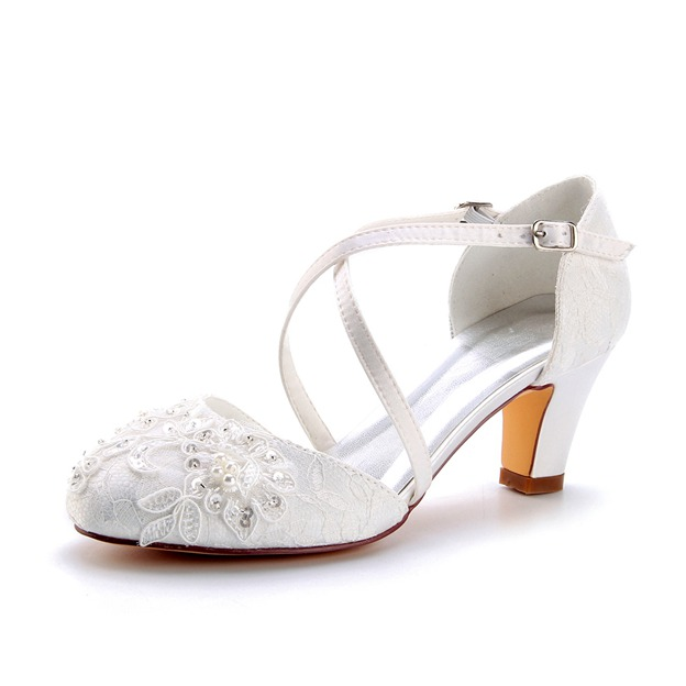 Women's Lace With Sequins/Beaded/Appliqued close Toe Heels Wedding Shoes