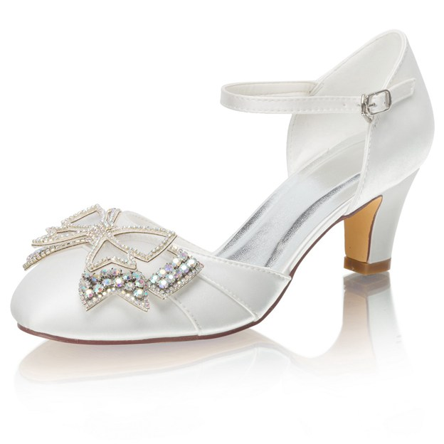 Women's Satin With Rhinestone/Bowknot Close Toe Heels Wedding Shoes