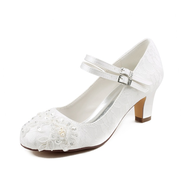 Women's Lace With Sequins/Buckle/Beaded/Appliqued Heels Close Toe Wedding Shoes