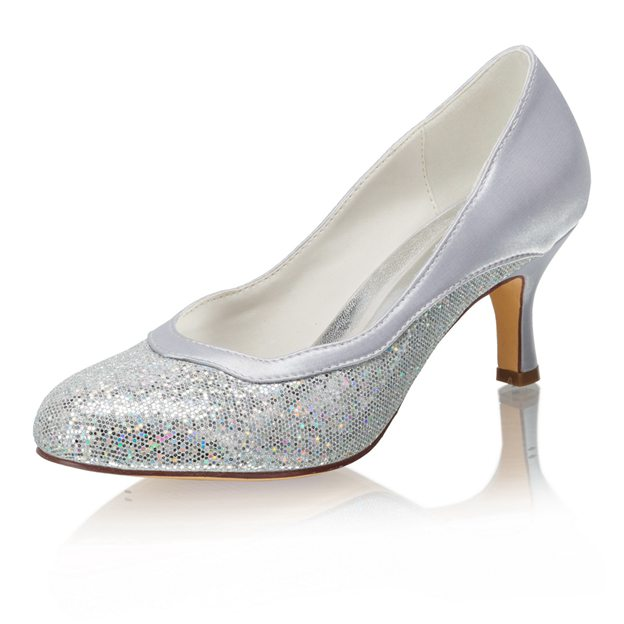 Women's Sparkling Glitter Close Toe Heels Wedding Shoes