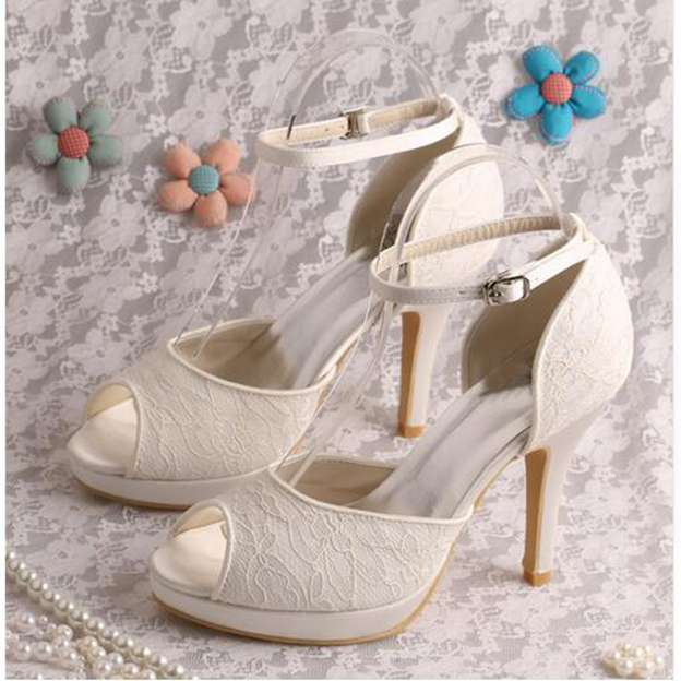 Women's Lace With Buckle Heels Pumps Peep Toe Wedding Shoes