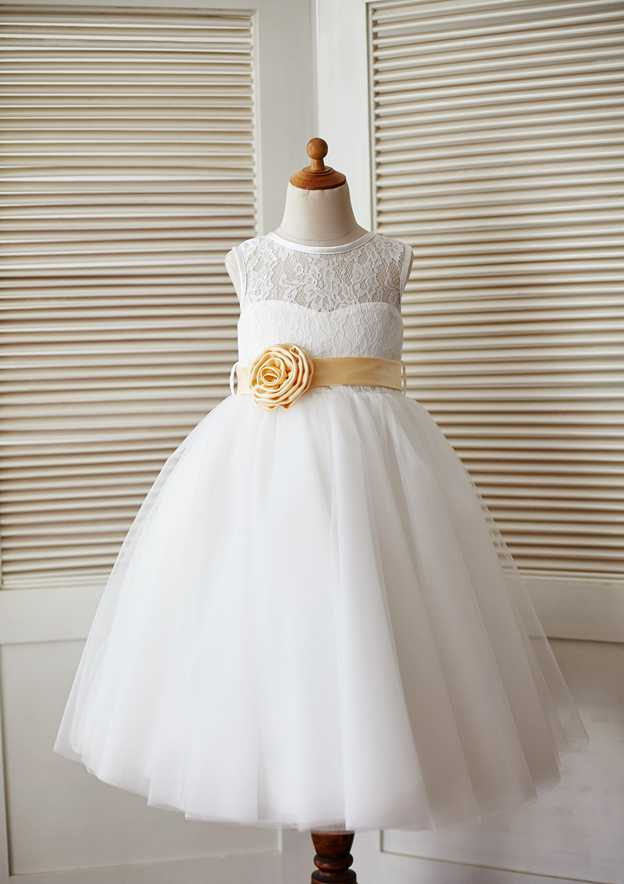 A-line/Princess Tea-Length Scoop Neck Lace/Tulle Flower Girl Dress With Flowers/Sashes