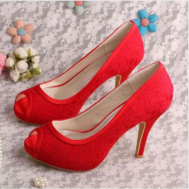 Women's Lace Heels Pumps Peep Toe Wedding Shoes