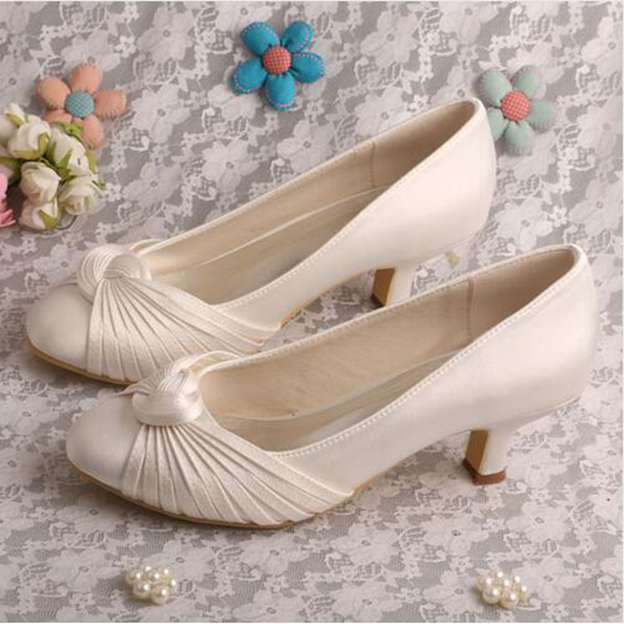 Women's Satin With Pleated Heels Pumps Close Toe Wedding Shoes