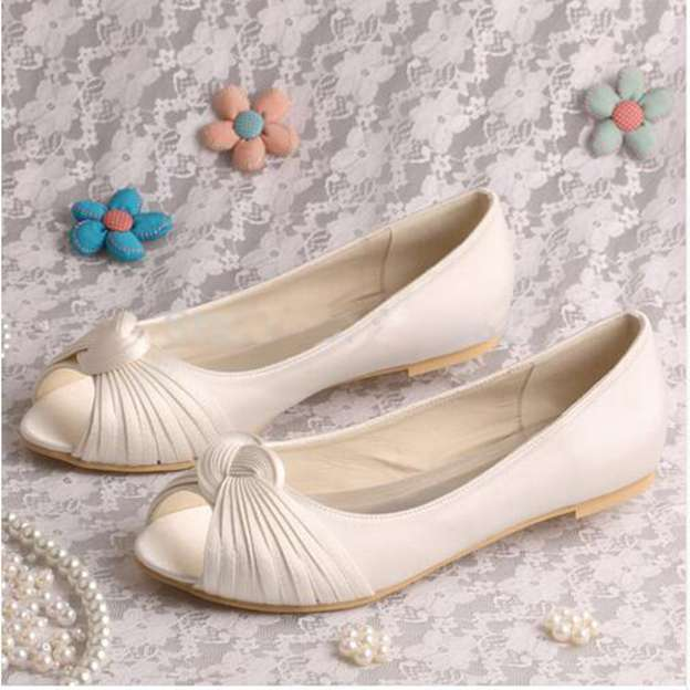 Women's Satin With Pleated Flats Peep Toe Wedding Shoes