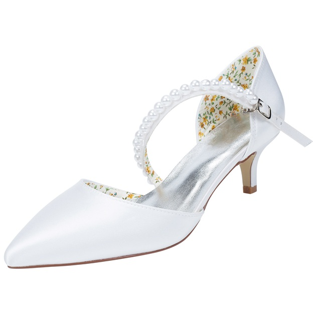 Women's Satin With Buckle/Beading Close Toe Heels Wedding Shoes