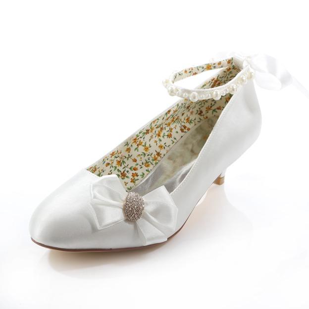Women's Satin With Rhinestone/Imitation Pearl/Bowknot Close Toe Wedding Shoes