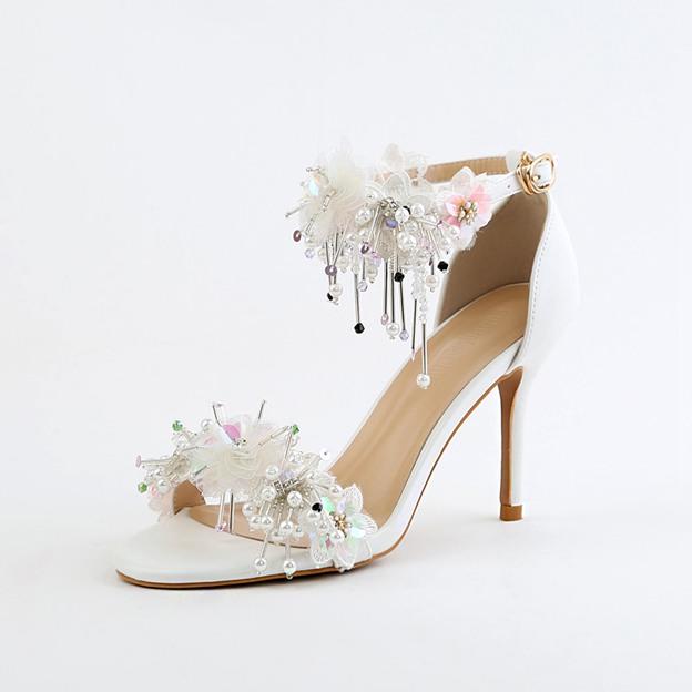 Women's PU With Tassel/Appliqued/Ankle Strap Peep Toe Heels Wedding Shoes