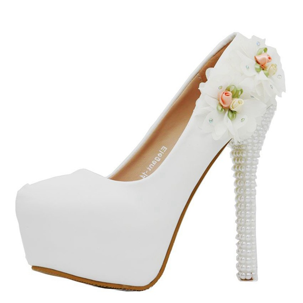 Women's PU With Flowers Close Toe Heels Wedding Shoes