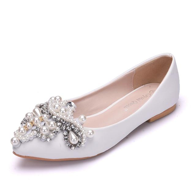 Women's PU With Rhinestone/Imitation Pearl Close Toe Flats Wedding Shoes