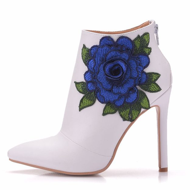 Women's PU With Zipper/Flowers Heels Boots Fashion Shoes