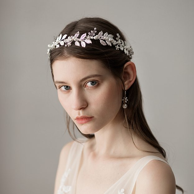 Ladies Copper/Imitation Pearls With Beads Venetian Pearl Headbands (Sold in single piece)