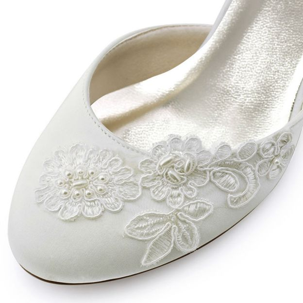 Women's Satin With Buckle Close Toe Heels Wedding Shoes