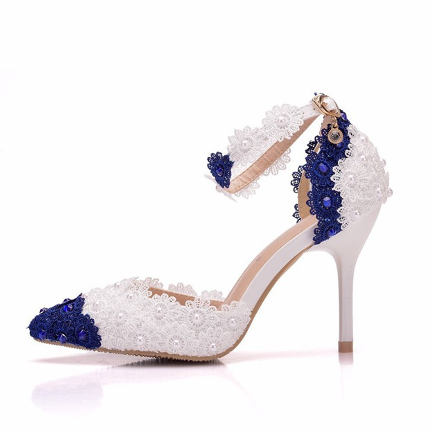 Women's Lace With Ankle Strap Heels Close Toe Wedding Shoes