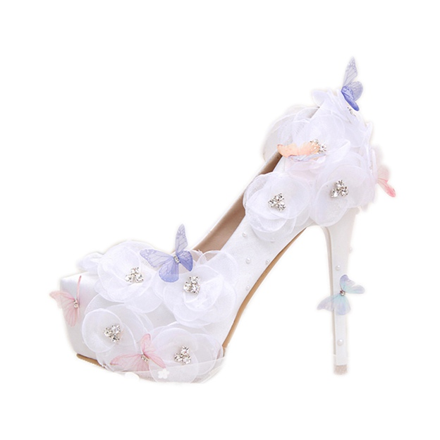 Women's PU With Rhinestone/Appliqued Close Toe Heels Shoes