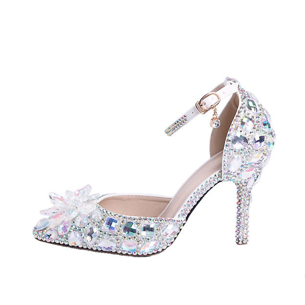 Women's Leatherette With Rhinestone/Ankle Strap Heels Pumps Fashion Shoes