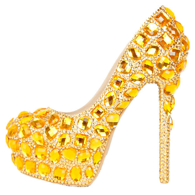 Women's Leatherette With Rhinestone Heels Pumps Shoes