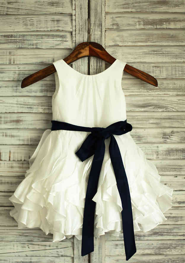 A-line/Princess Short/Mini Scoop Neck Satin Flower Girl Dress With Sashes/Ruffles