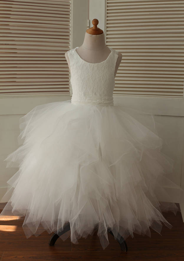 A-line/Princess Asymmetrical Scoop Neck Lace/Tulle Flower Girl Dress With Bandage