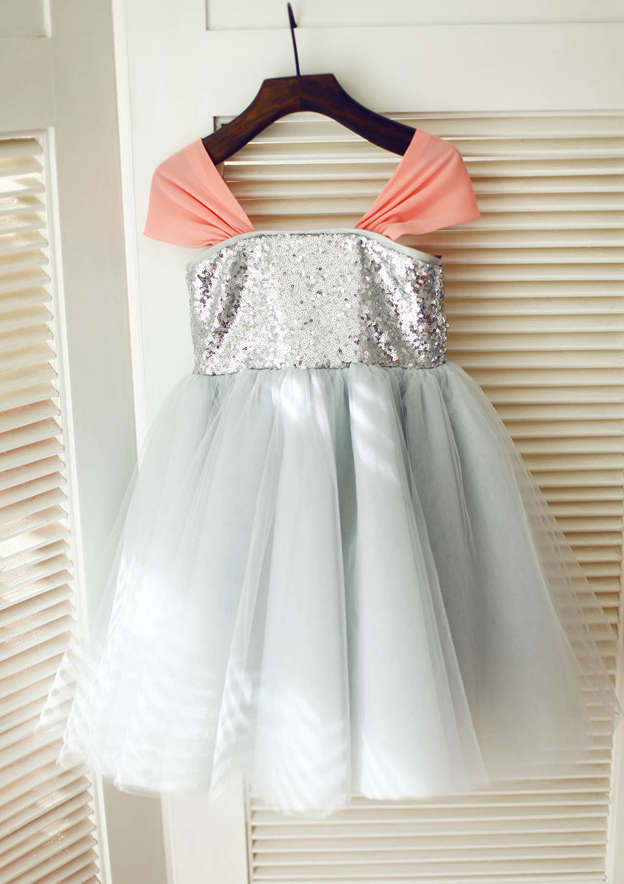 A-line/Princess Knee-Length Square Neckline Tulle/Sequined Flower Girl Dress