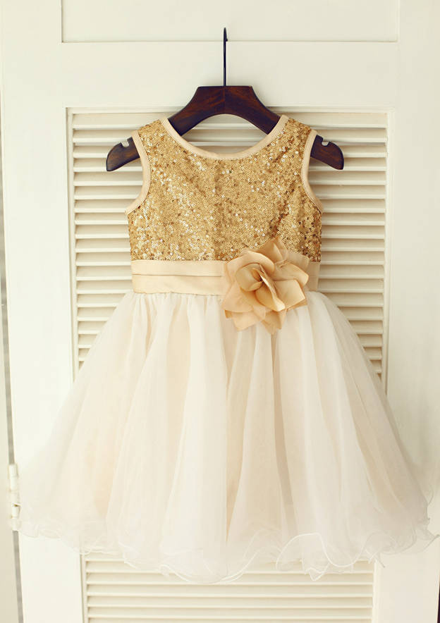 A-line/Princess Knee-Length Scoop Neck Regular Straps Tulle/Sequined Flower Girl Dress Flower Girl Dress With Flowers