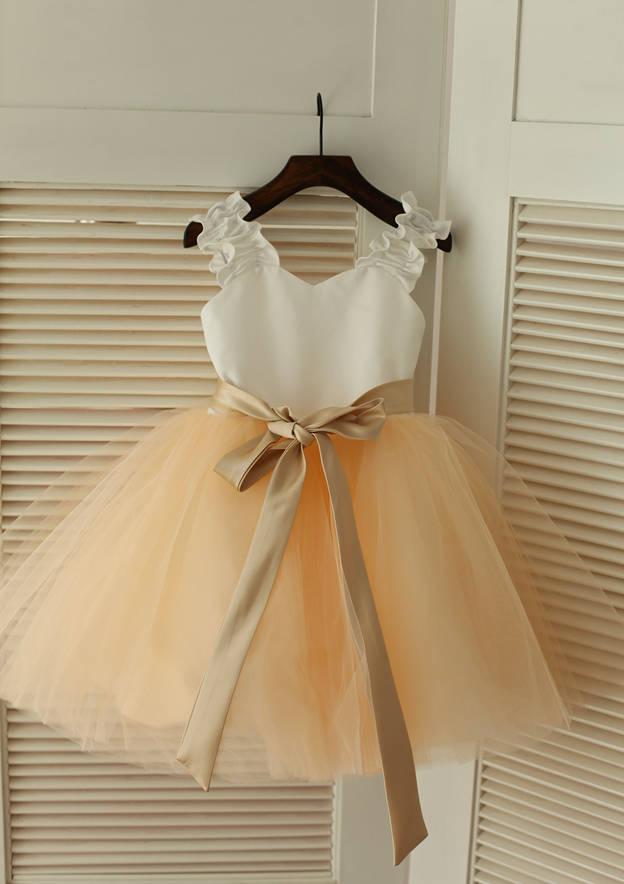 A-line/Princess Knee-Length Sweetheart Satin/Tulle Flower Girl Dress With Sashes