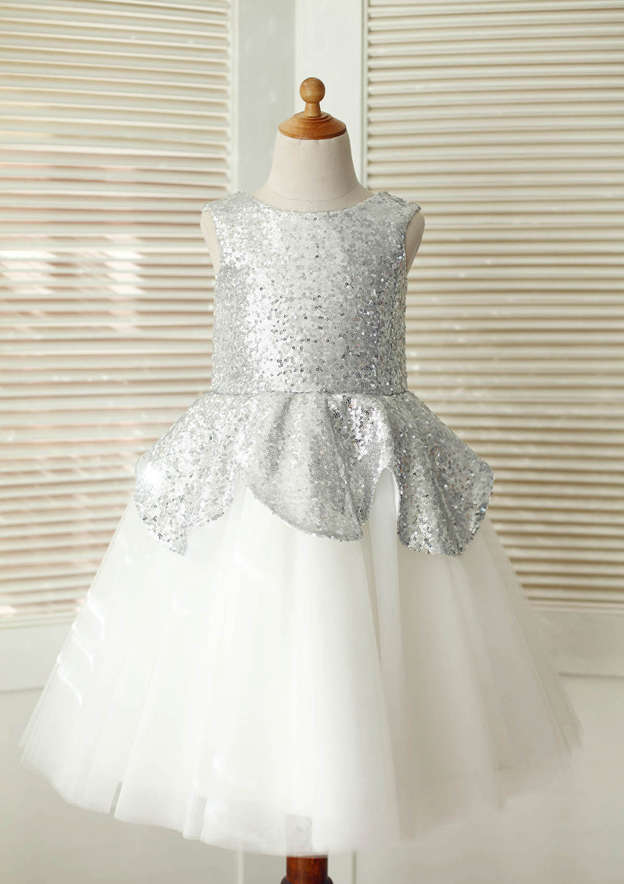 A-line/Princess Knee-Length Scoop Neck Tulle/Sequined Flower Girl Dress