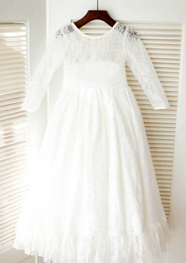A-line/Princess Tea-Length Scoop Neck 3/4 Sleeve Lace Flower Girl Dress With Sashes